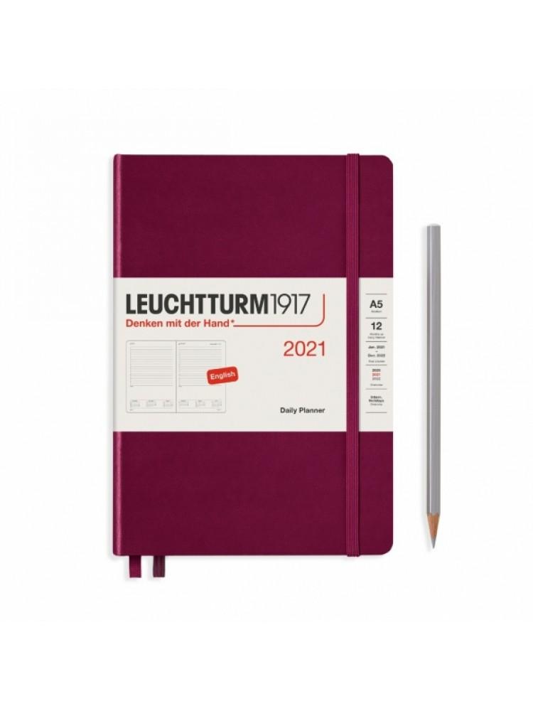 Dieninė darbo knyga A5. 2021. Bordo. Leuchtturm1917