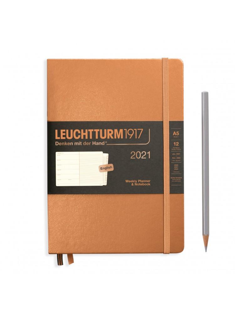 Savaitinė darbo knyga A5. 2021. Prabangaus vario. Leuchtturm1917