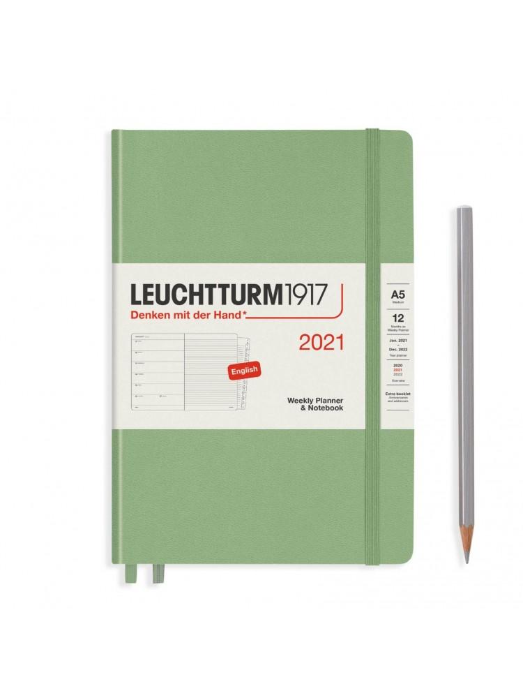 Savaitinė darbo knyga A5. 2021. Šviesiai žalia. Leuchtturm1917
