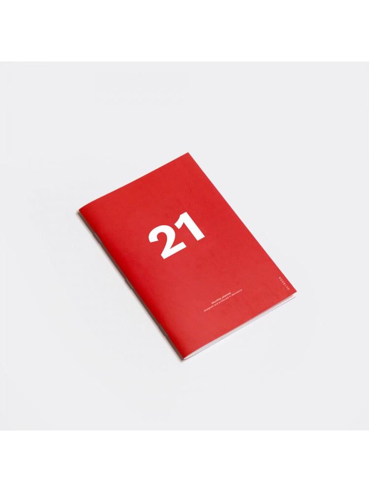 Mėnesinė darbo knyga A5. 2021. Raudona. Octagon